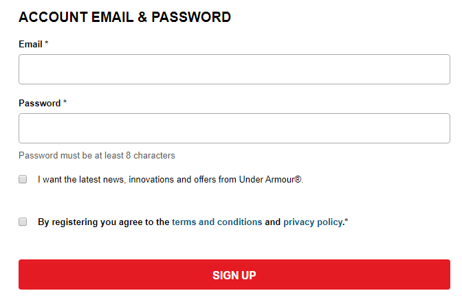Under Armour UK: Create Account form with checkboxes for consent