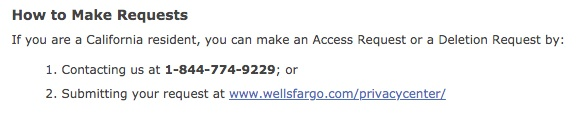 Wells Fargo CCPA Notice: How to Make Requests with toll-free number