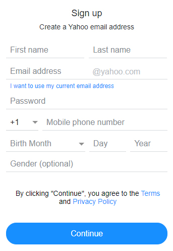 Yahoo: Create account form with clickwrap button