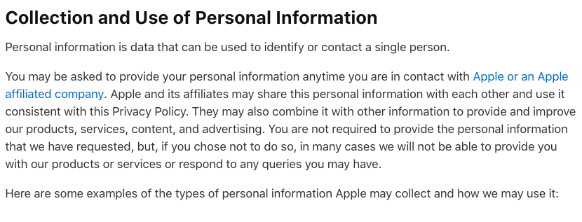 Apple Privacy Policy: Collection and Use of Personal Information clause
