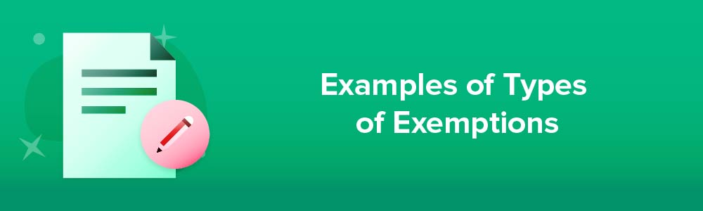 Examples of Types of Exemptions