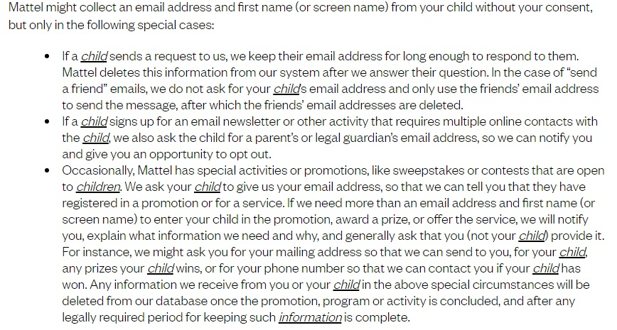 Mattel Children's Privacy Statement: Information collected without consent clause